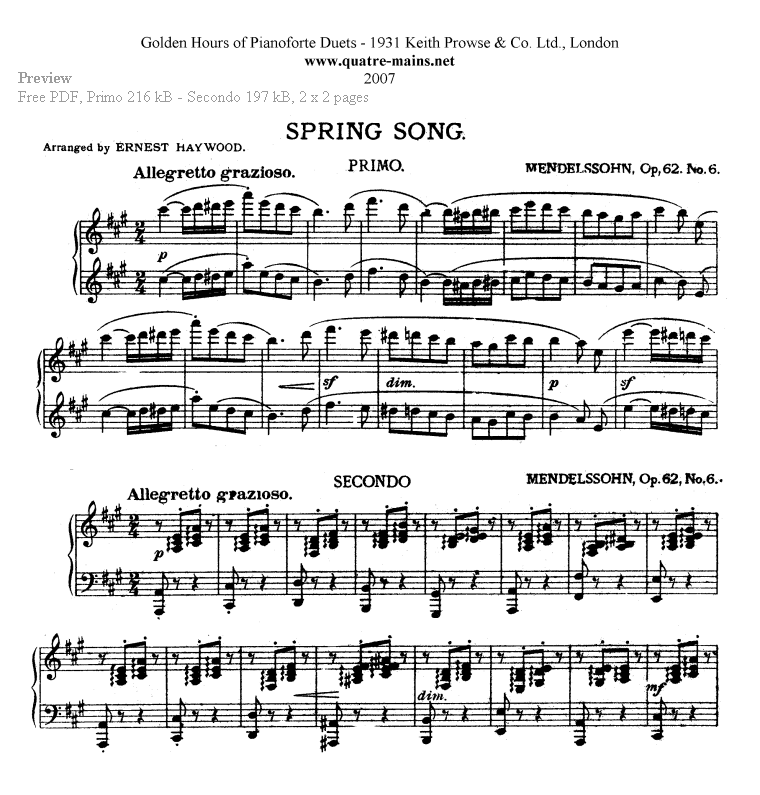Mendelssohn - Spring Song - Preview